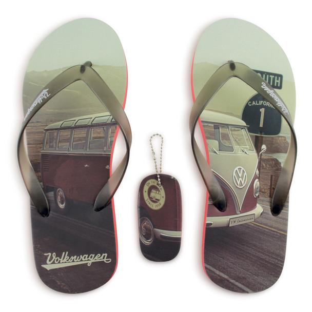 Volkswagen Campervan Beach Highway Red Flip Flops