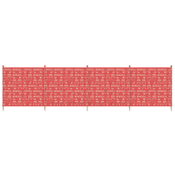 Volkswagen Campervan Red Beach Windbreak - 5 Pole Version