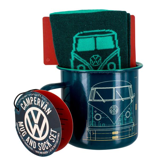 Volkswagen Campervan Enamel Tin Mug & Socks Set
