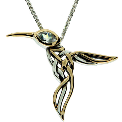 silver com sterling blue necklace yellow dp swarovski quot and green hummingbird amazon pendant crystal gold plated