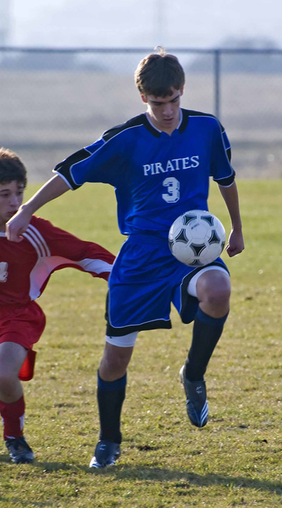 Nova soccer uniform kit in action on soccer player.