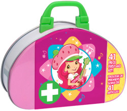 Contains 2 gauze pads, 8 alcohol wipes, 10 large bandages, 10 small bandages, 2 large rectangle bandages, 2 small rectangle bandages, 1 self-adhesive wrap, 1 first aid tape, 4 get well stickers, and 1 collectible tin case