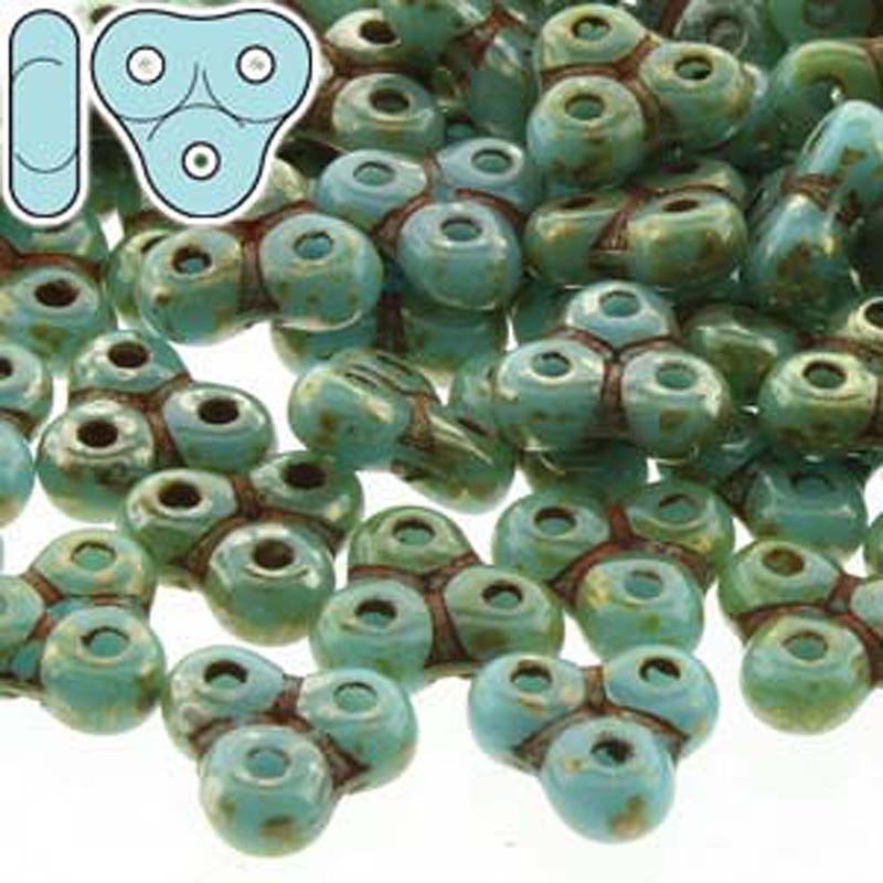 Turq Blue/Picasso Trinity 3-hole Czech Glass Beads 8x8mm 8 Grams TRT48-63030-43400-TB