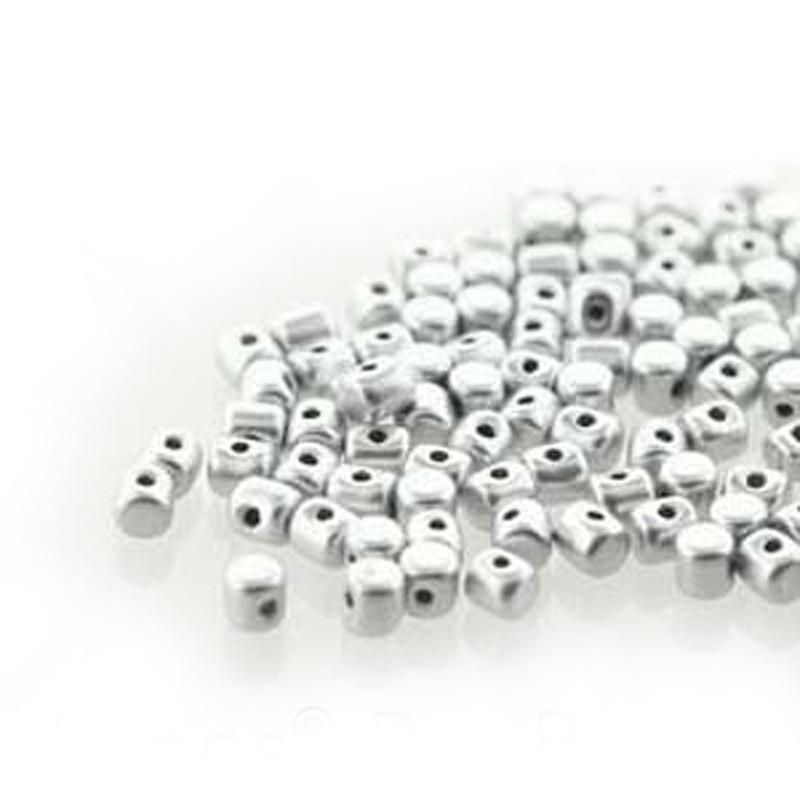 Silver Aluminum Matte MINOS® Par PUCA® 2 5x3mm Cylinder Glass Beads 5gr HP-MNS253-00030-01700-5G