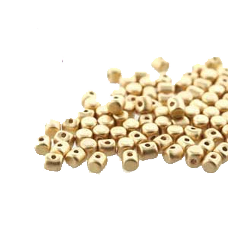 Lt Gold Matte MINOS® Par PUCA® 2 5x3mm Cylinder Czech Glass Beads 5 grams HP-MNS253-00030-01710-5G