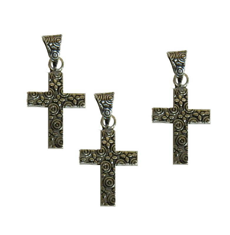 3 Cross Pendants With Bail Antique Silver Plated Copper 25x19mm BA-K-3983