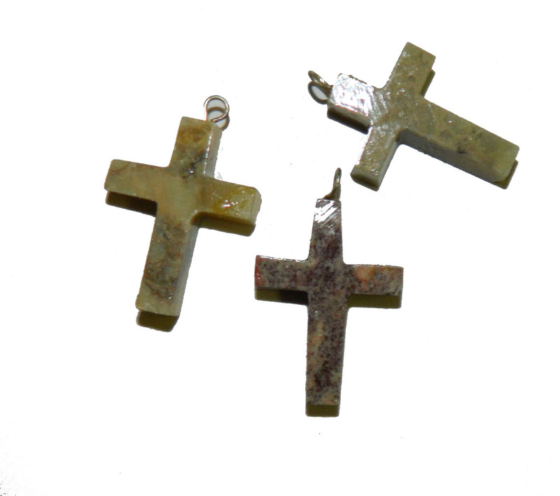 3 Hand Carved Soap Stone Cross Pendants With Loop 30x20mm BA-SJ-3-SS-542