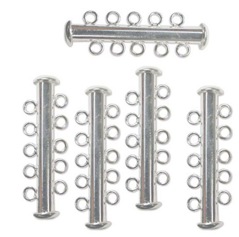 10 Pack Multi 5 Strand Slide Lock Clasps Silver Plated Brass CLSP22SP-10