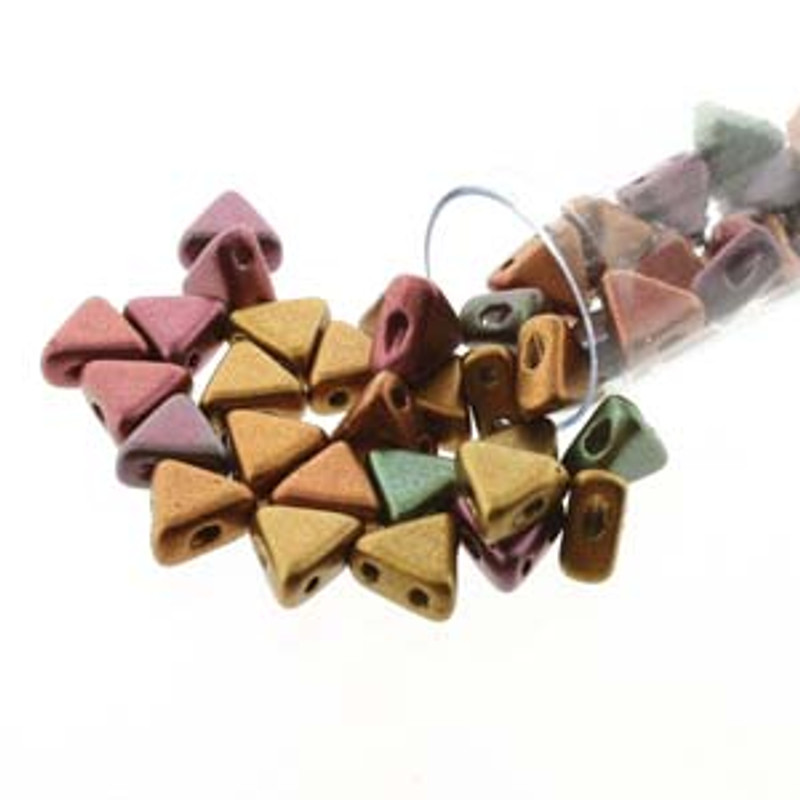 Crystal Violet Rainbow 9 Gram Kheops Par Puca 6mm 2 Hole Triangle Beads