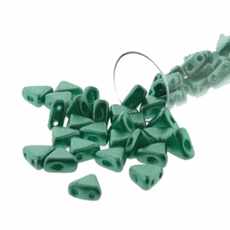 Pastel Dark Green 9 Gram Kheops Par Puca 6mm 2 Hole Triangle Czech Glass Beads KHP06-02010-25026-TB