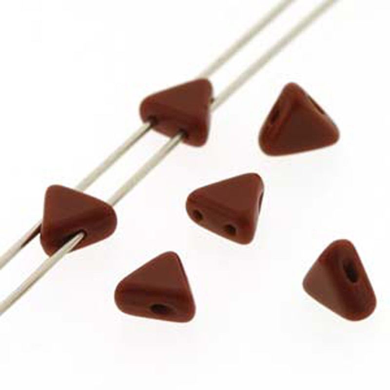 Opaque Chocolate 9 Gram Kheops Par Puca 6mm 2 Hole Triangle Czech Glass Beads KHP06-13600-TB