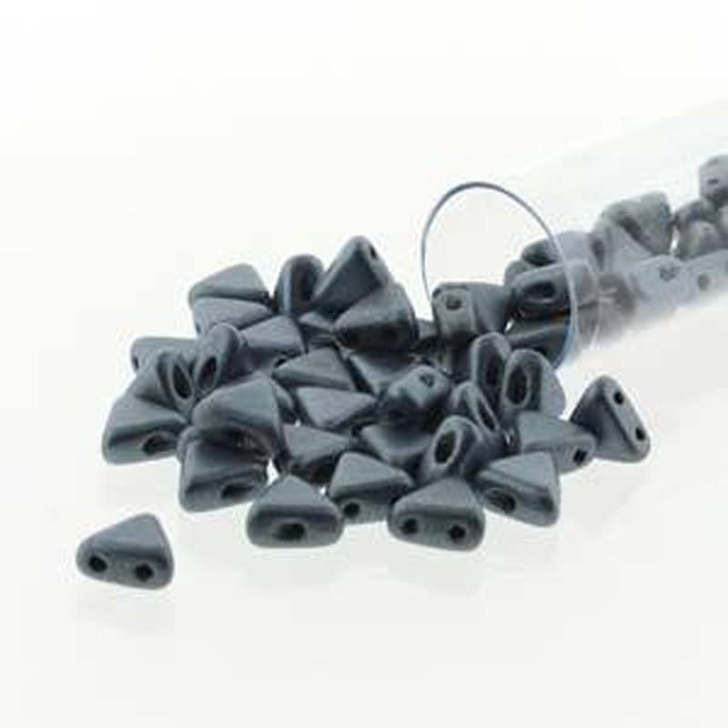 Metallic Matte Blue 9 Gram Kheops Par Puca 6mm 2 Hole Triangle Czech Glass Beads KHP06-23980-79031-TB