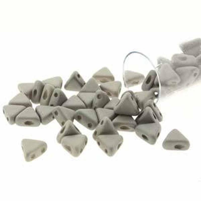 Opq Grey Silk Mat 9 Gm Kheops Par Puca 6mm 2 Hole Triangle Czech Glass Beads KHP06-02010-29566-TB