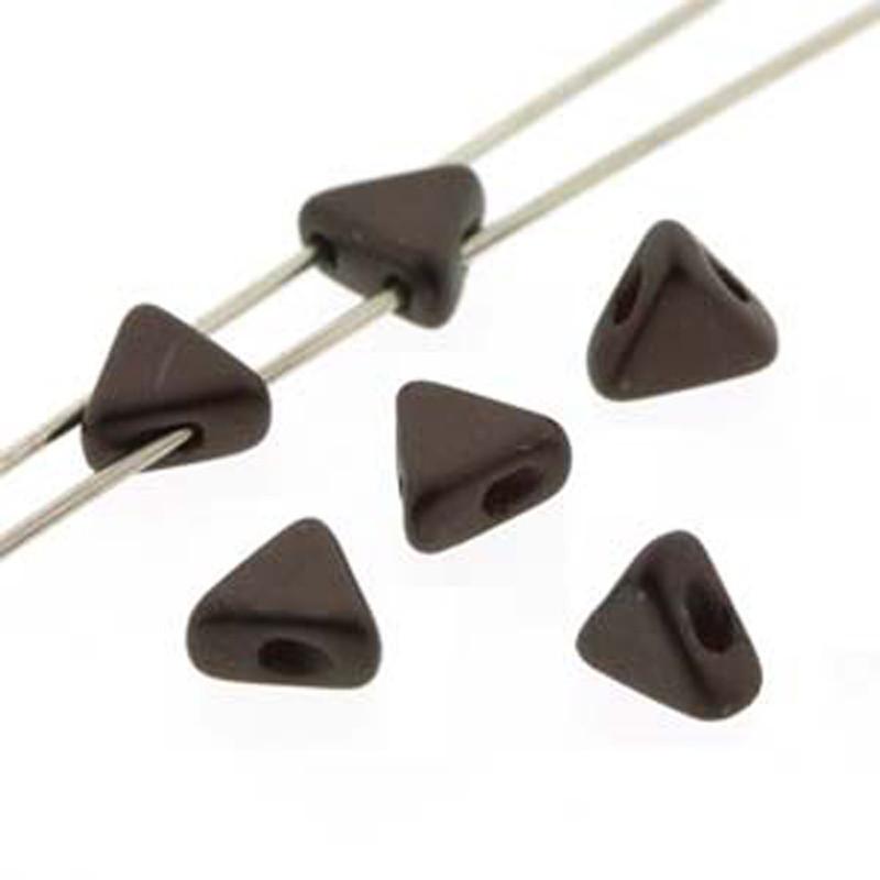 Pastel Dark Brown Bronze 9 Gram Kheops Par Puca 6mm 2 Hole Triangle Czech Glass Beads KHP06-02010-25036-TB