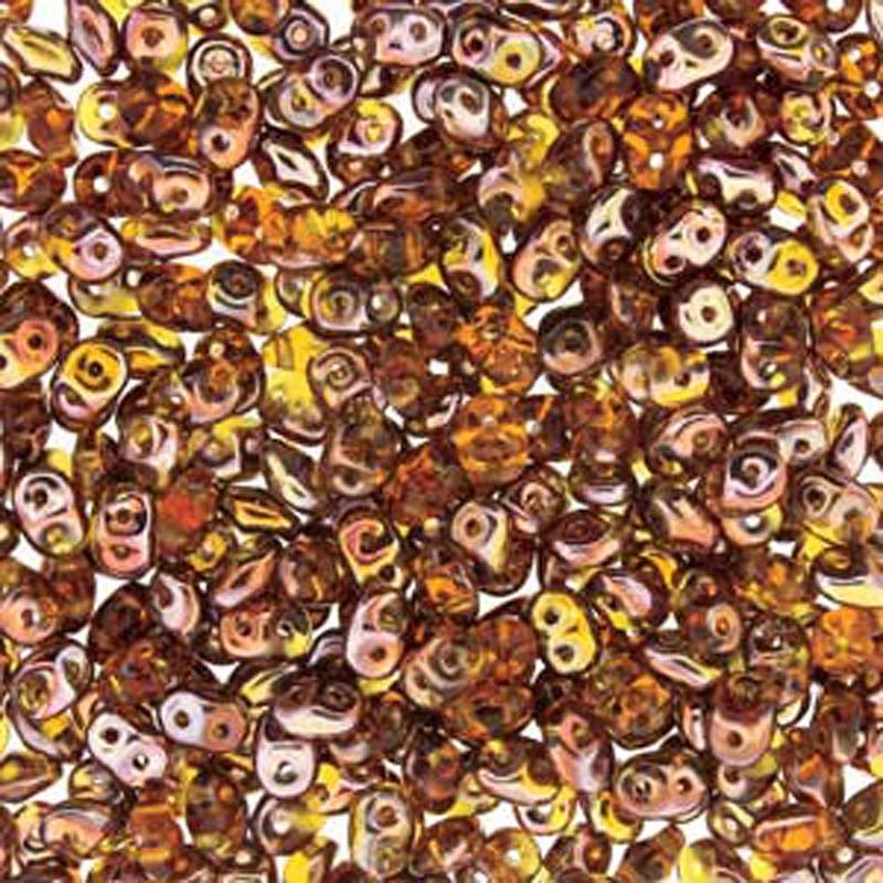 Topaz Capri Gold 2x4mm 2 Hole Bead 8 Grams Superduo Miniduo