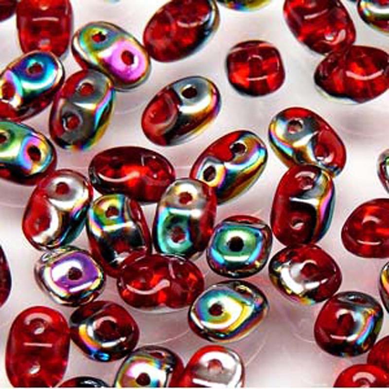 Ruby Vitrail 2x4mm 2 Hole Bead 8 Grams Superduo Miniduo
