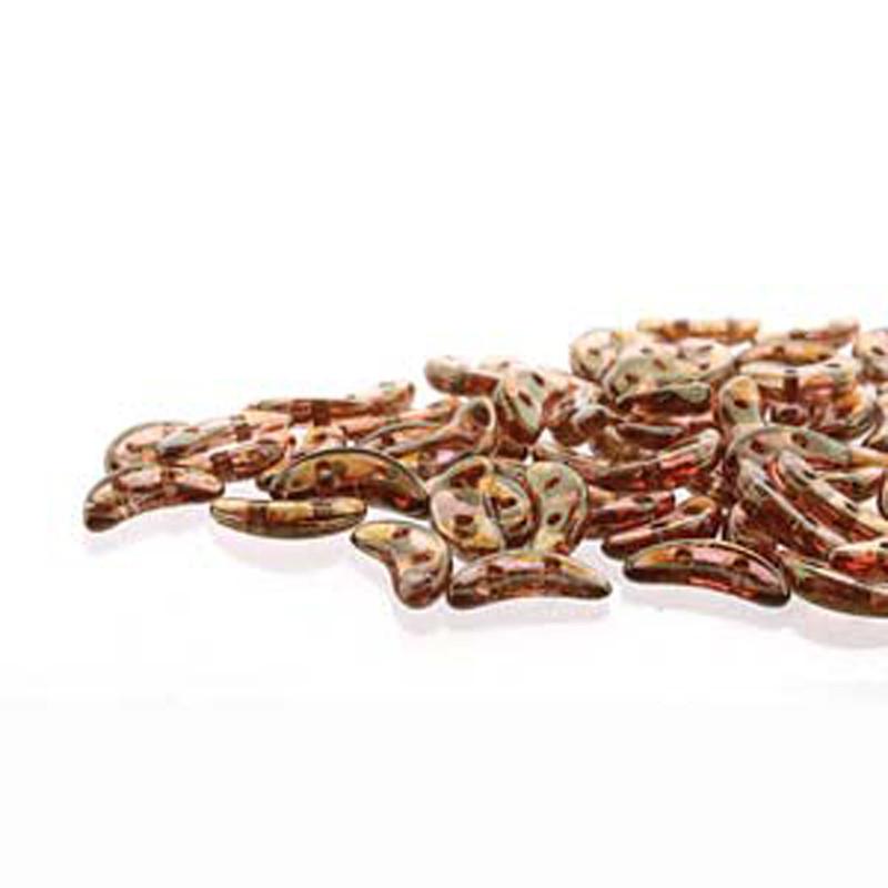Luster Rose/ Gold Topaz Czech Glass Crescent Moon 2-Hole Beads 3x10mm 8 Grams HP-CRS310-AK00030-8G