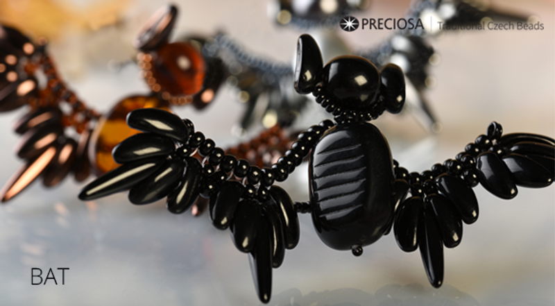 Bat with Chilli Beads- Free Jewelry Making Project complements Preciosa Bat