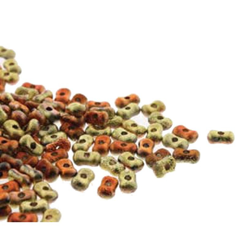 Etch Calif Gld Rsh Farfalli 3.2x6.4mm Peanut Czech Glass Beads 19 grams