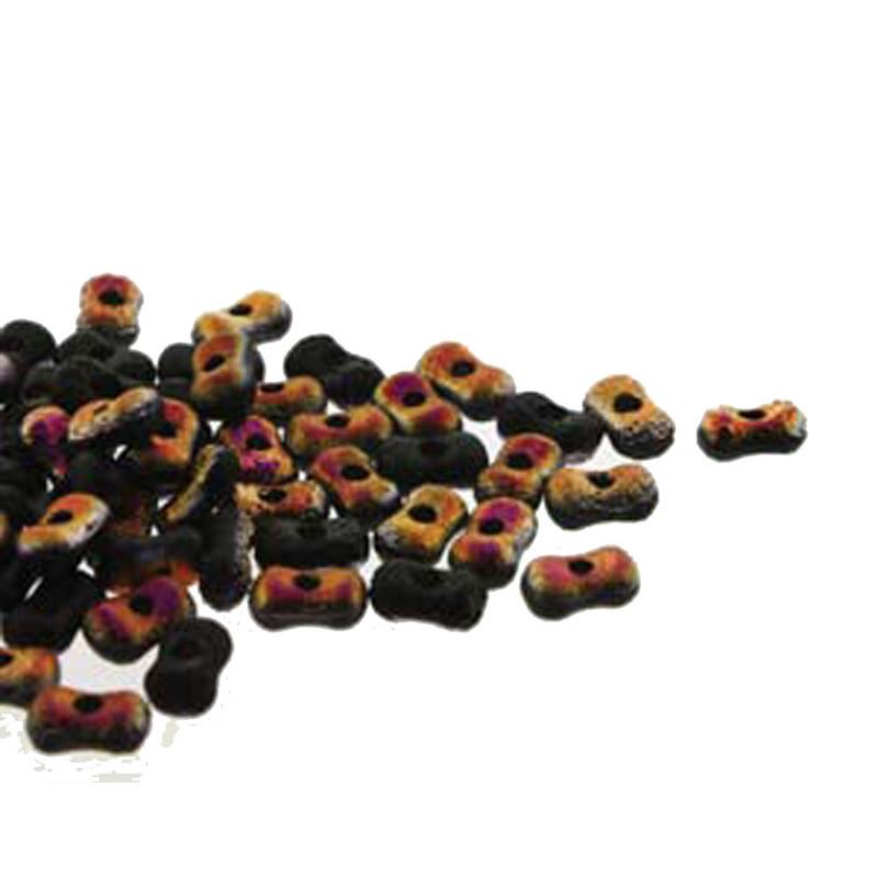Etch Jet Sliperit Farfalli 3.2x6.4mm Peanut Czech Glass Beads 19 grams