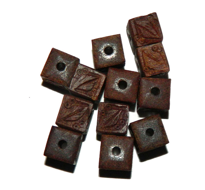 12 Hand Carved Wood Beads 3mm Hole 10mm Cube BA-SI-19310-BP-1971