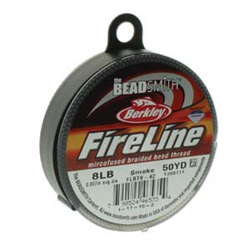 """8lb BeadSmith Burkley FireLine Braided Bead Thread .007"""" .17mm Smoke Grey FL08SG50"""