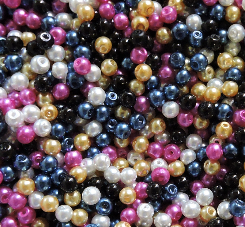 300 White Black Blue Pink Gold Mix 4mm Glass Pearls Bead Mix Coated GT-150615134023-MIX1
