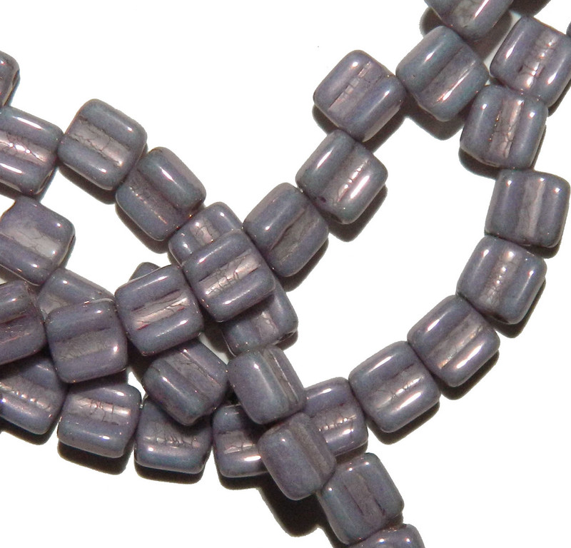 Groovy 6mm Czchmate Glass Czech Two Hole Chalk Purple Vega 40 Beads GRV0602010-15726