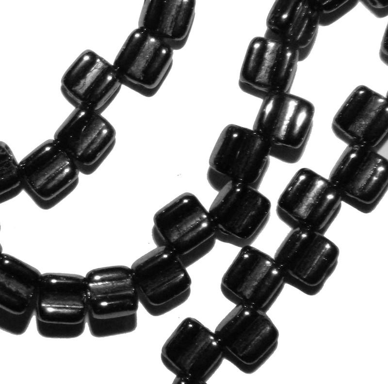 Groovy 6mm Czchmate Glass Czech Two Hole Black Hematite Gold 40 Beads GRV0623980-14400