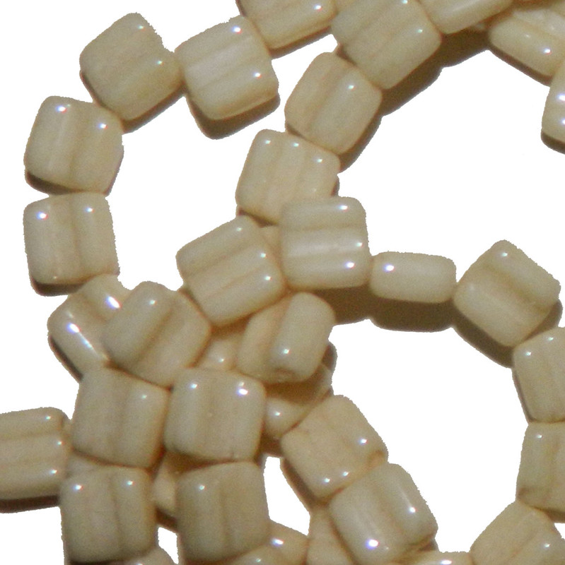 Groovy 6mm Czchmate Glass Czech Two Hole Chalk Beige Lust 40 Beads GRV0603000-14413