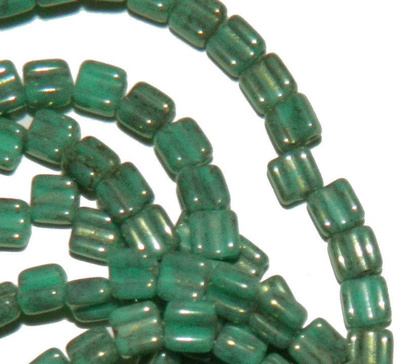 Groovy 6mm Czchmate Glass Czech Two Hole Gr Turquoise Lumi 40 Beads GRV0663130-15495