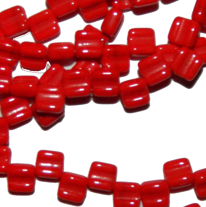 Groovy 6mm Czchmate Glass Czech Two Hole Red Opq 40 Beads GRV0693190