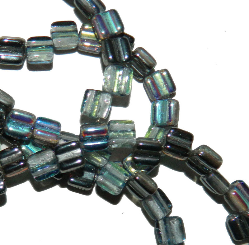 Groovy 6mm Czchmate Glass Czech Two Hole Crystal Graphite Rnbw 40 Beads GRV0600030-98537