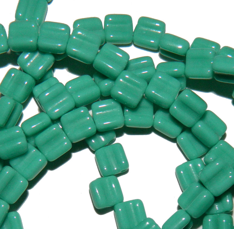 Groovy 6mm Czchmate Glass Czech Two Hole Gr Turquoise Opq 40 Beads GRV0663130
