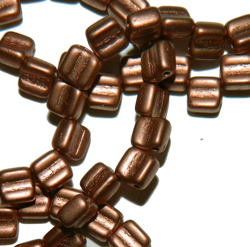 Groovy 6mm Czchmate Glass Czech Two Hole Bronze Copper 40 Beads GRV0600030-01780