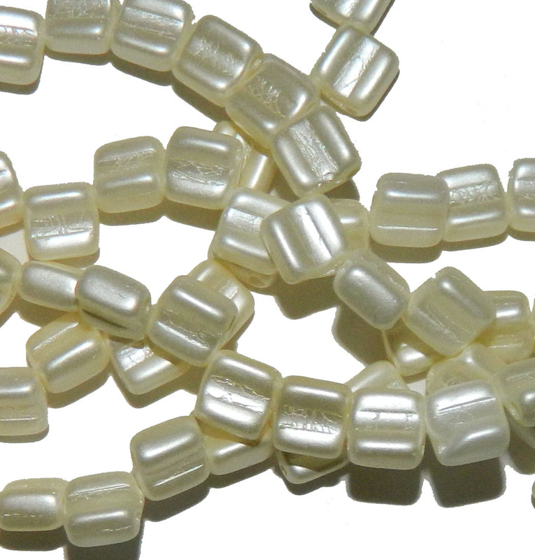 Groovy 6mm Czchmate Glass Czech Two Hole Pastel Light Cream 40 Beads GRV0625110
