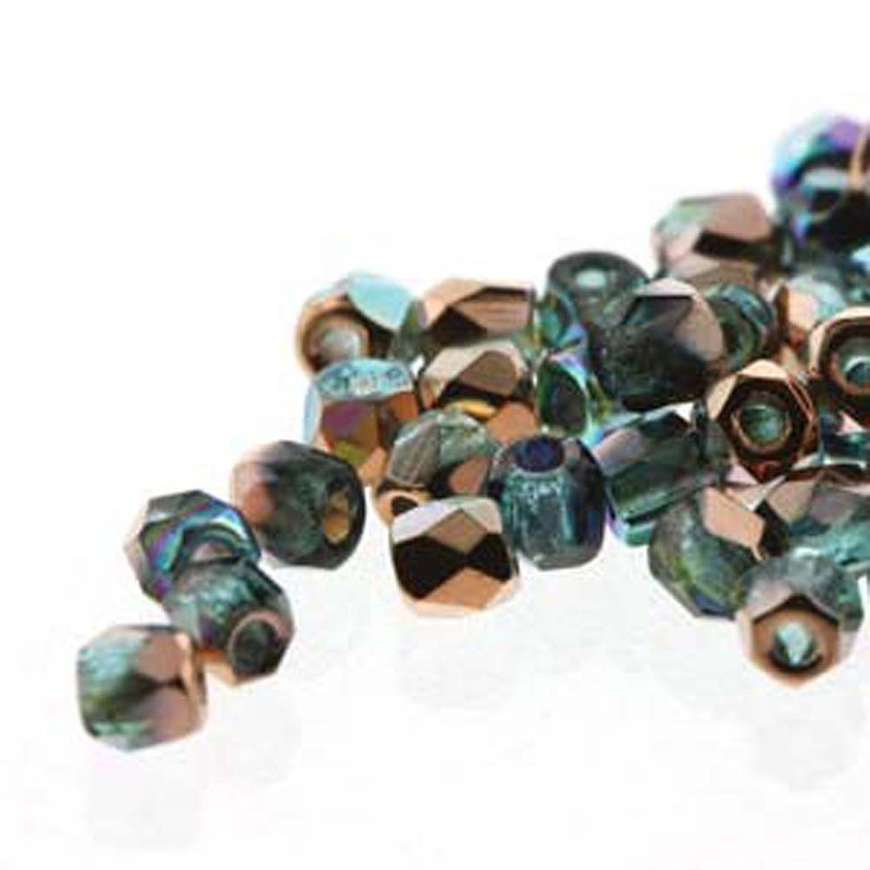 Fire Polish True2s 2mm Czech Glass Aqua Copper Rnbw 2 Grams 180 beads