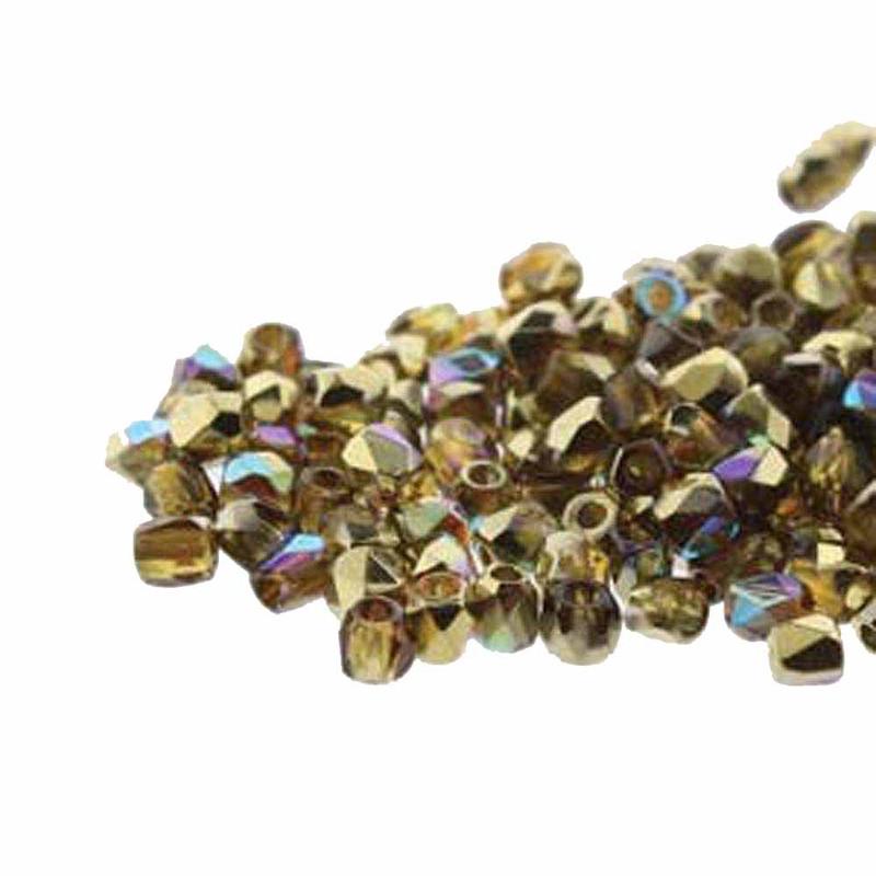 Fire Polish True2s 2mm Czech Glass Topaz Gold Rnbw  600 Beads FPR0210060-98536