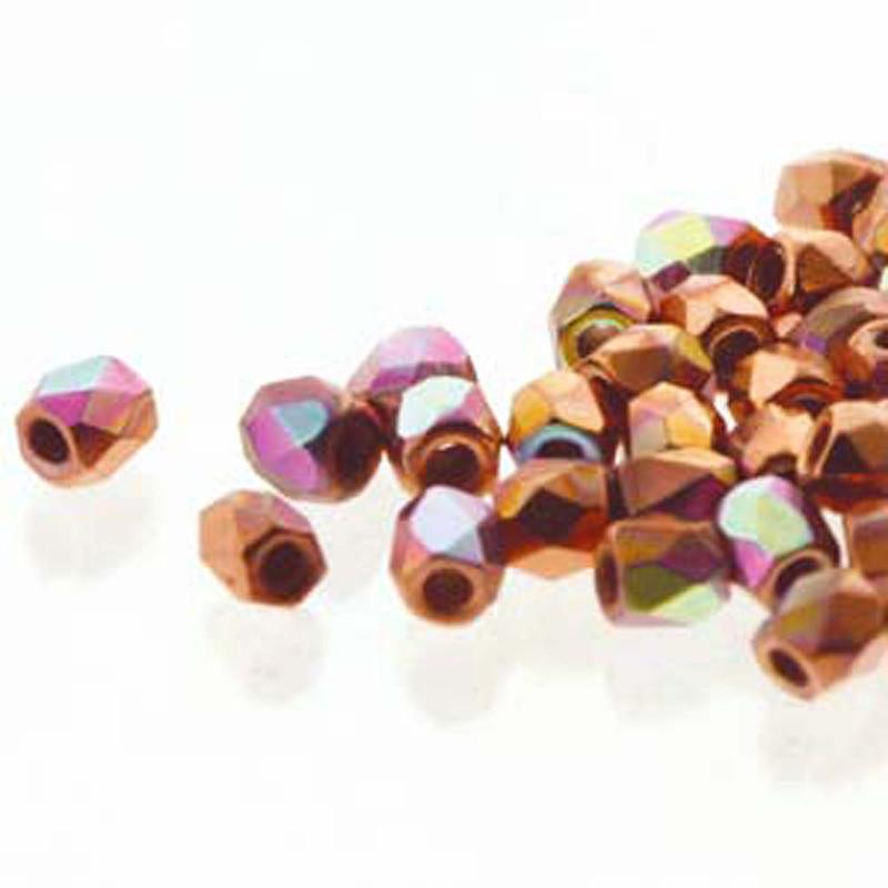Fire Polish True2s 2mm Czech Glass Crys Copper Plate Ab  600 Beads
