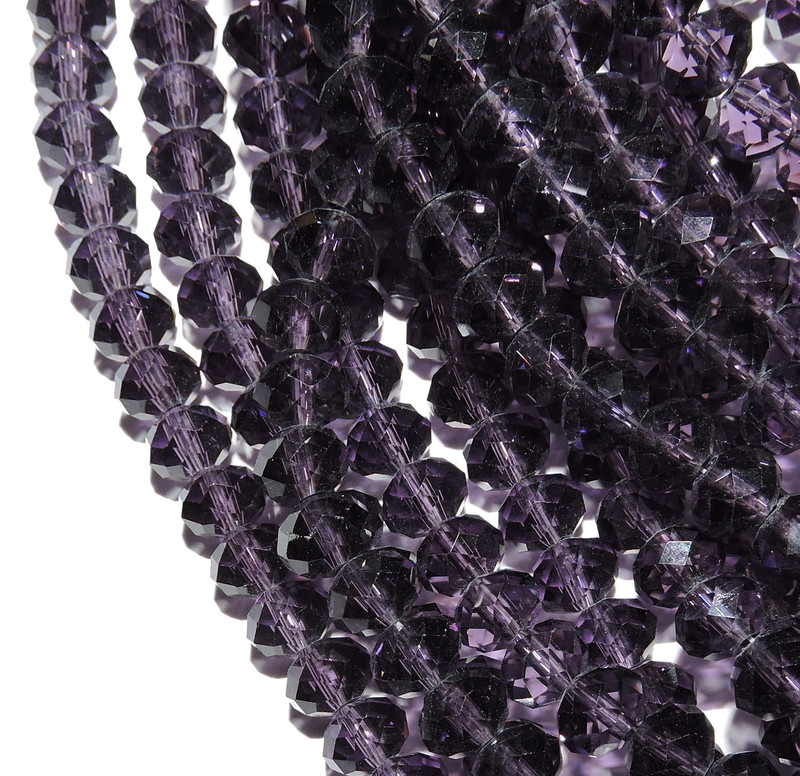 Tanzanite Purple Faceted 8mm Rondelle Beads 70 Piece Luster Glass Crystal Beads B2-UC3A20