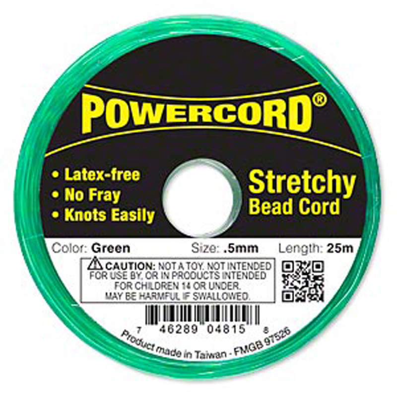 Powercord® Elastic Stretch Cord Green 0.5mm 4-lb Test 25-Meter Latex-Free H20-1690BS