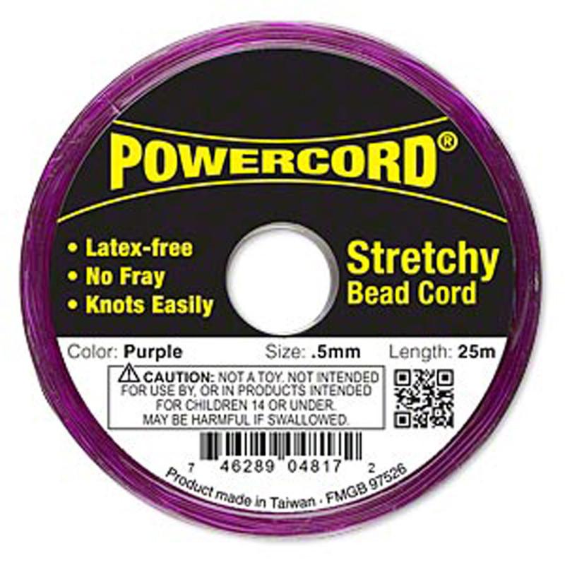 Powercord® Elastic Stretch Cord Purple 0.5mm 4-lb Test 25-Meter Latex-Free H20-1692BS