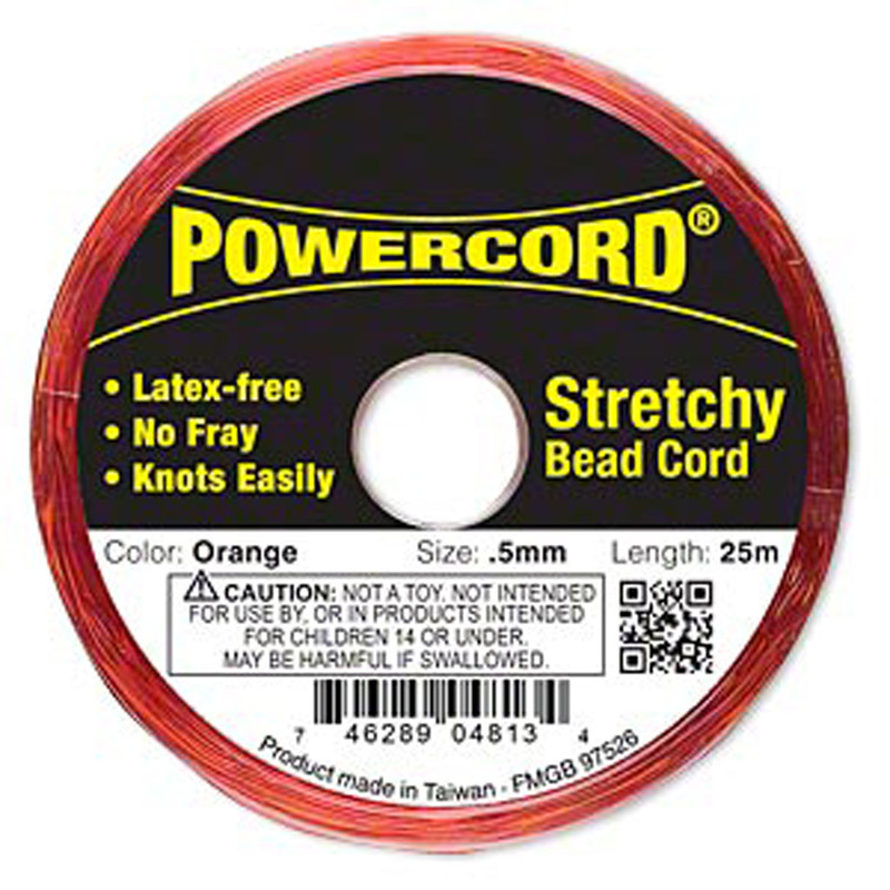 Powercord® Elastic Stretch Cord Orange 0.5mm 4-lb Test 25-Meter Latex-Free H20-1688BS