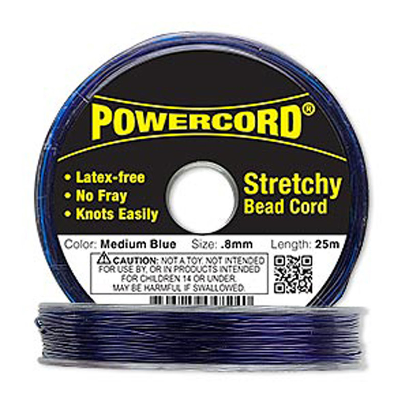 Powercord® Elastic Stretch Cord Blue 0.8mm 8.5-lb Test 25-Meter Latex-Free H20-1699BS