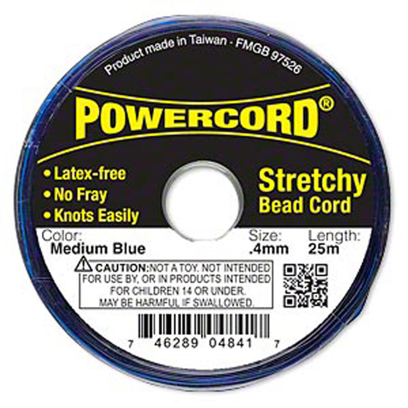Powercord® Elastic Stretch Cord Blue 0.4mm 3.5-lb Test 25-Meter Latex-Free H20-3296BS