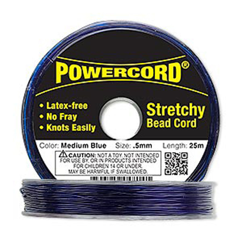 Powercord® Elastic Stretch Cord Blue 0.5mm 4-lb Test 25-Meter Latex-Free H20-1689BS