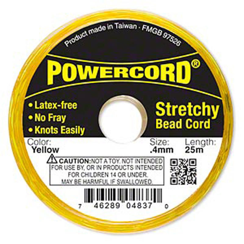 Powercord® Elastic Stretch Cord Yellow 0.4mm 3.5-lb Test 25-Meter Latex-Free H20-3292BS