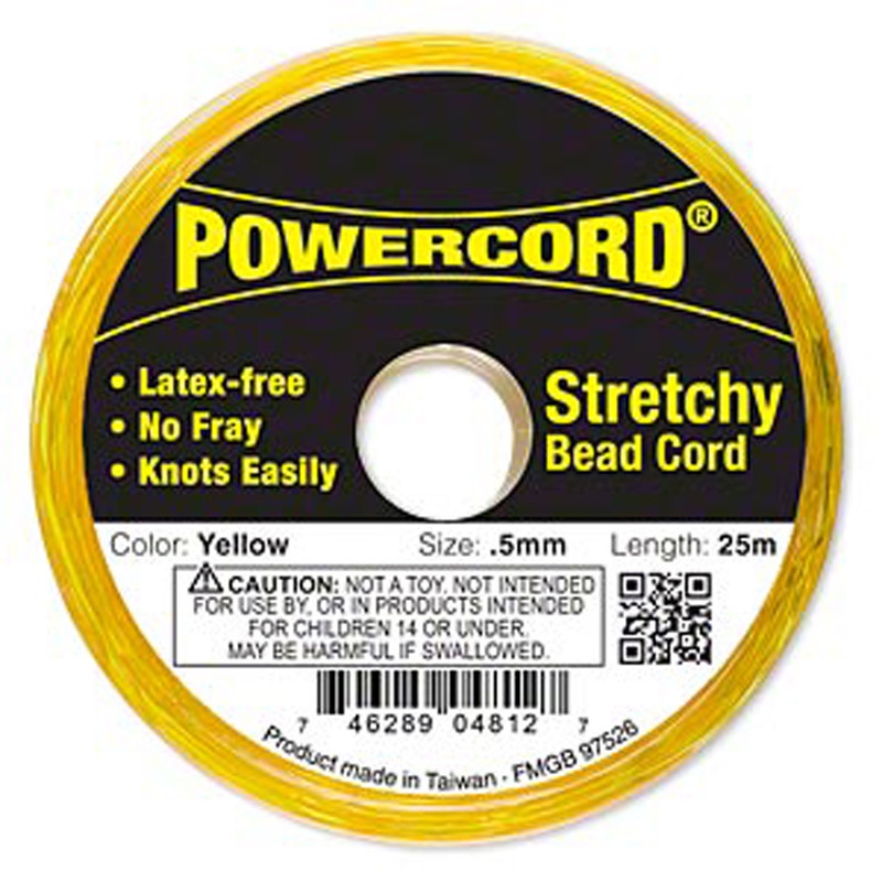 Powercord® Elastic Stretch Cord Yellow 0.5mm 4-lb Test 25-Meter Latex-Free H20-1687BS