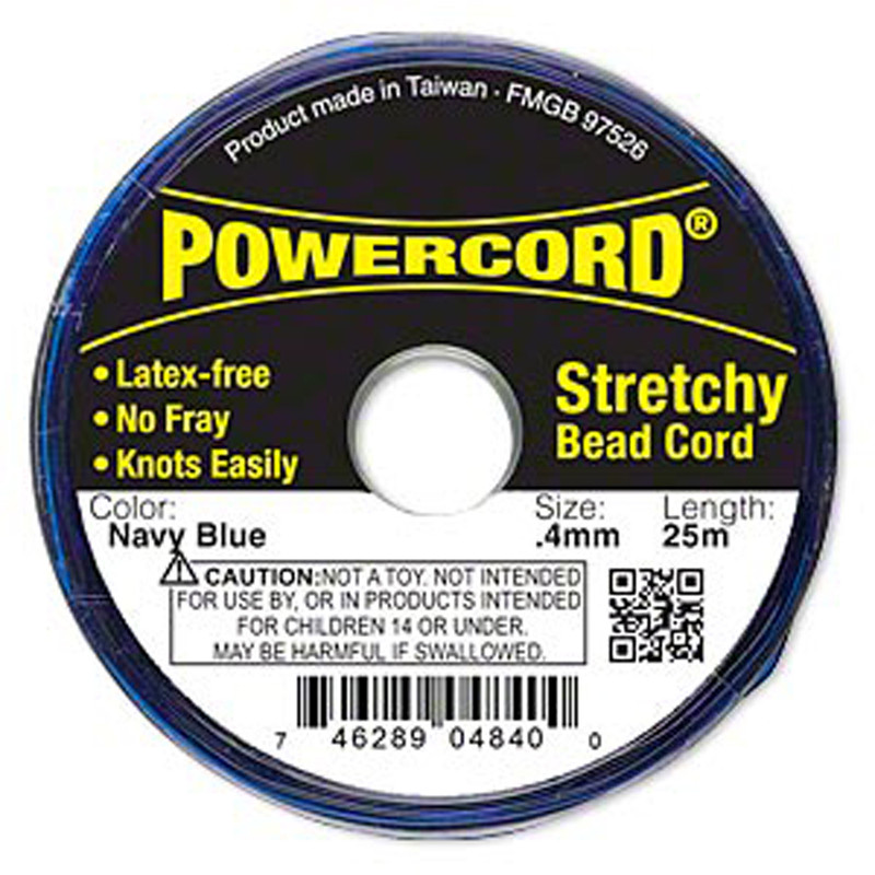 Powercord® Elastic Stretch Cord Navy Blue 0.4mm 3.5-lb Test 25-Meter Latex-Free H20-3295BS