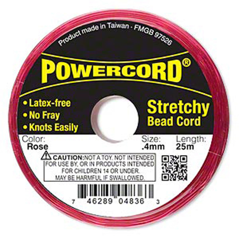 Powercord® Elastic Stretch Cord Rose 0.4mm 3.5-lb Test 25-Meter Latex-Free H20-3291BS